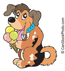 Cartoon Dog isst Eis