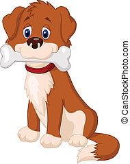 Cartoon Dog mit Knochen