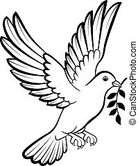 Cartoon Dove Vögel Logo für Frieden c.