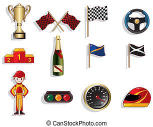 Cartoon f1 Autorennen-Icon-Set