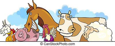 Cartoon Farm Tiere Design.