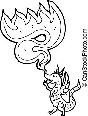 Cartoon Feuer atmender Drache