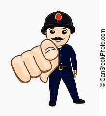 Cartoon Feuerwehrmann mit Finger.