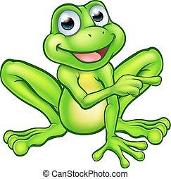 Cartoon Frosch zeigt.