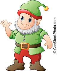 Cartoon Garden gnome winkende Hand.