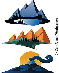 Cartoon-Gebirge-Ikonen