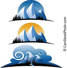 Cartoon-Gebirge