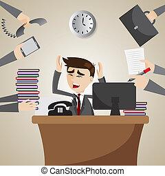Cartoon Geschäftsmann beschäftigt sich mit der Arbeitszeit.