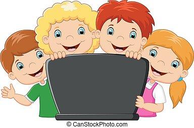 Cartoon glückliche Familie mit Laptop.