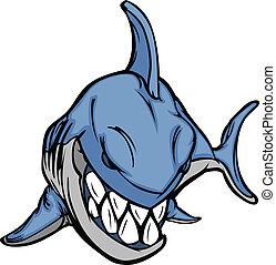 Cartoon-Hai-Maskott-Vektorbild