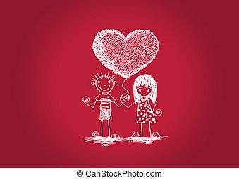 Cartoon Hand gezeichnet Hochzeit Paar w.