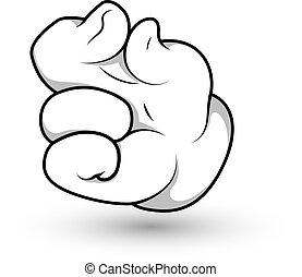 Cartoon-Handfinger-Zwickvektor