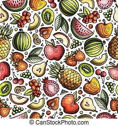 Cartoon handgekleidete Ernährung nahtlos Muster
