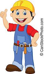 Cartoon Handwerker mit Werkzeuggürtel