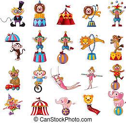 Cartoon Happy Zirkus Show Ikons-Sammlung