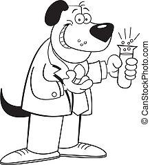 Cartoon-Hund hält einen Reagenzglas