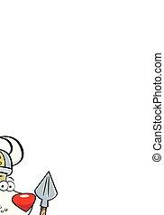 Cartoon Hund trägt ein Wikingerkostüm und hält einen Speer.