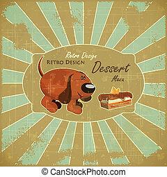 Cartoon Hund und Kuchen auf Grunge-Hintergrund