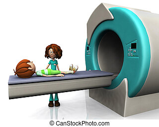 Cartoon-Junge bekommt einen MRI-Scan.