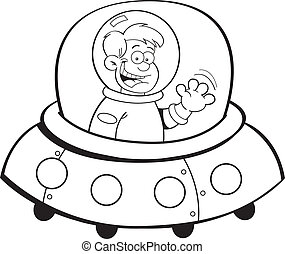 Cartoon-Junge in einem Raumschiff