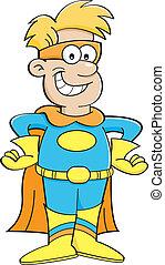 Cartoon-Junge in einem Superhelden-Kostüm.