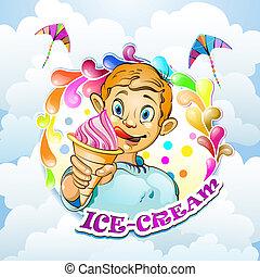 Cartoon-Junge mit Eiscreme
