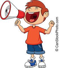 Cartoon-Junge schreit und schreit