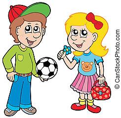 Cartoon-Junge und Mädchen