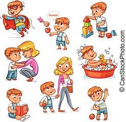 Cartoon Kid tägliche Routine-Aktivitäten eingestellt