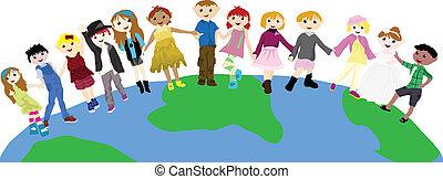 Cartoon-Kinder auf der Welt