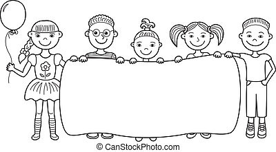 Cartoon-Kinder mit leerem Banner