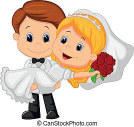 Cartoon-Kinder spielen Braut und Groo