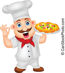Cartoon-Koch-Figur mit Pizza