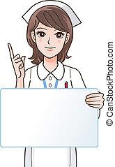 Cartoon-Krankenschwester mit einem leeren Brett