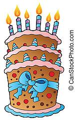 Cartoon-Kuchen mit einem großen Band