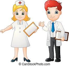 Cartoon lächelnder Arzt und Krankenschwester.