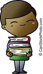 Cartoon lächelnder Junge mit vielen Büchern.