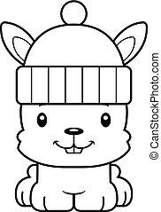 Cartoon lächelnder Winterhase.