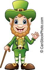 Cartoon Leprechaun winkt mit einem Stock.