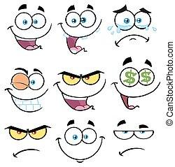 Cartoon lustiges Gesicht mit Ausdruck Set 1. Sammlung