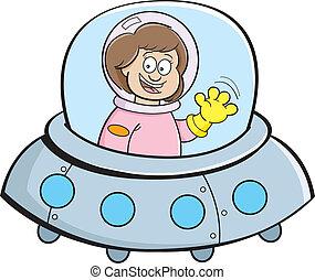 Cartoon-Mädchen in einem Raumschiff