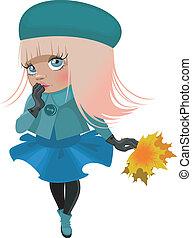 Cartoon-Mädchen in einer Jacke