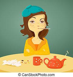 Cartoon-Mädchen mit Krankheit