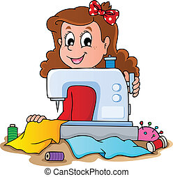 Cartoon-Mädchen mit Nähmaschine
