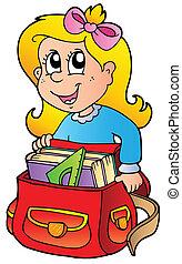 Cartoon-Mädchen mit Schultasche
