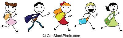 Cartoon macht Kinder zur Schule.