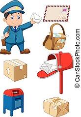 Cartoon Mail Carrier mit Tasche und l.