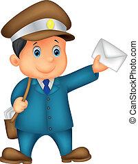 Cartoon Mail Trager mit Tasche und ich
