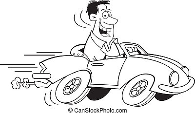 Cartoon-Mann fährt ein Auto