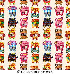 Cartoon Market-Ladenwagen nahtlos